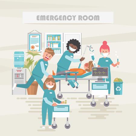 Salle d'urgence. Notion de vecteur médical. Illustration de soins de santé et de traitement.