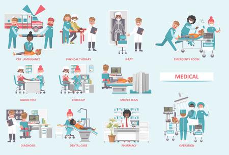 Concepto de vector médico. Ilustración de salud y tratamiento.