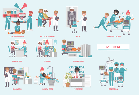 Medical vector concept. Healthcare and treatment illustration. Stock Illustratie