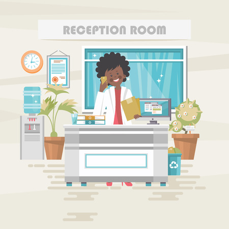 Reception room. Medical vector concept. Healthcare and treatment illustration.