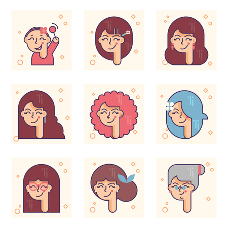Set of pictograms with a person of different ages. From baby girl to adult woman vector concept.
