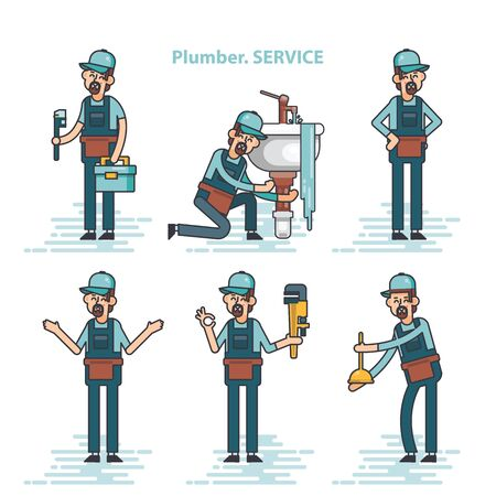 Ensemble d'images vectorielles de plombiers professionnels réparant les installations de la maison cassées, lavabo, toilettes, cabine, machine à laver, radiateur, bouchon de tuyaux.