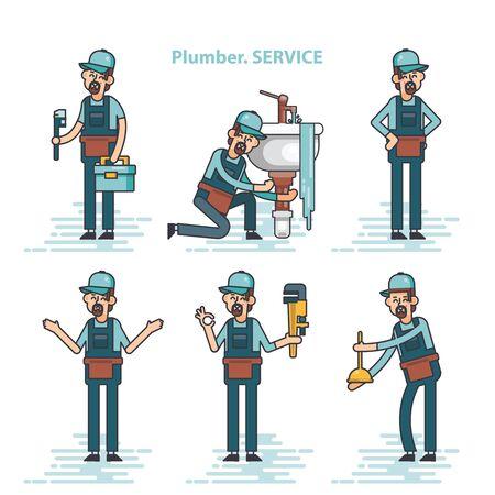 Vector conjunto de fontaneros profesionales que reparan las instalaciones del hogar rotas, lavabo, inodoro, cabina, lavadora, radiador, obstrucción de tuberías.