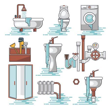 Vector conjunto de fontaneros profesionales que reparan las instalaciones del hogar rotas, lavabo, inodoro, cabina, lavadora, radiador, obstrucción de tuberías. Ilustración de vector