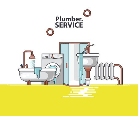 Vector set of professional plumbers repairing the broken home facilities, washbasin, toilet, cabin, washing machine, radiator, clog of pipes.