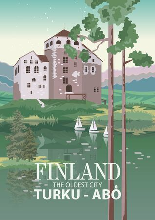 Finland. Travel poster. Welcome to Suomi. 写真素材 - 131558987