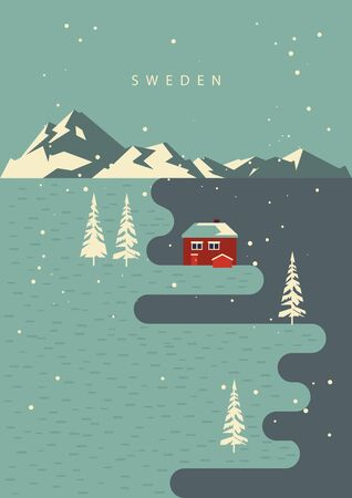 Swedish travel. Souvenir from Sweden. Vector postcard. 向量圖像