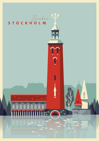 Swedish travel. Souvenir from Sweden. Vector postcard. 矢量图像