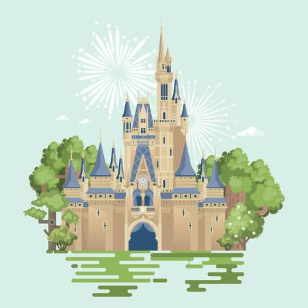 Princess castle from a fairy tale with many beautiful towers in flat style