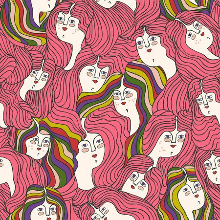Seamless pattern with women with long hair and rainbows in LGBT style