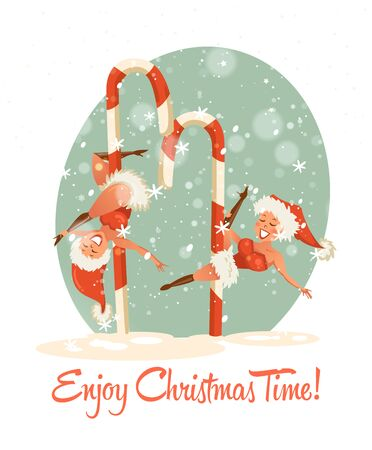 Enjoy Christmas time. Happy New year and a very Merry Christmas. Greeting postcard in a colorful design with snowflakes and beautiful santa girls.