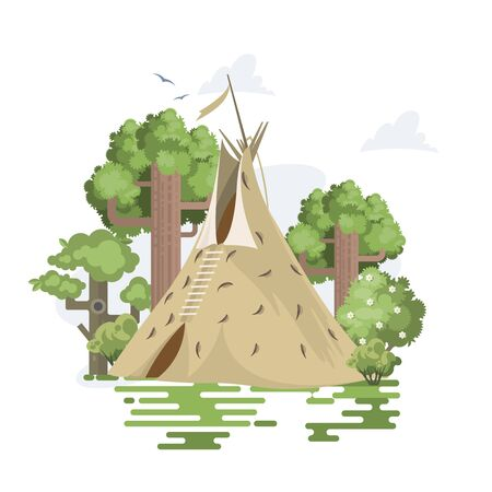 Vector poster with Indian native American Sioux Teepee. Wigwam on white background
