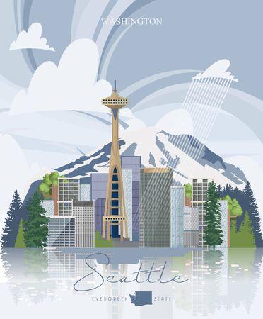 Seattle vector panorama. State Washington. American city