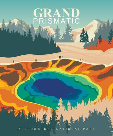 Grand Prismatic Spring on vector colorful poster. Yellowstone national park. Modern design