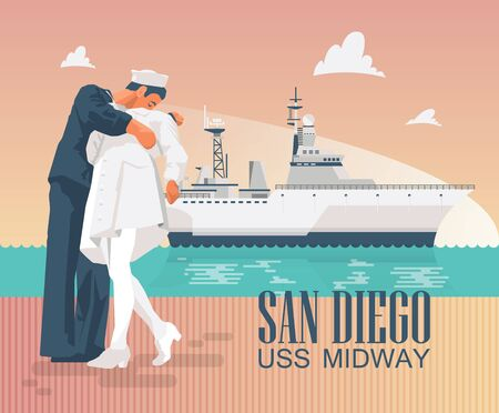 Uss Midway Poster with ship and kissing statues. Colorful design in modern flat style