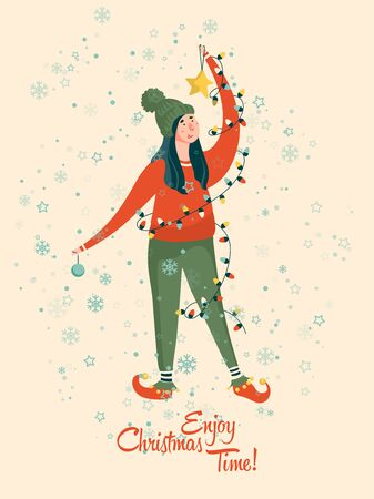 Enjoy Christmas time. Happy New year and a very Merry Christmas. Vector greeting postcard Ilustracja