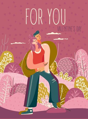 Valentine's day on greeting vector card with cute hugging young trendy people. Hand-drawn style with modern couple in love.