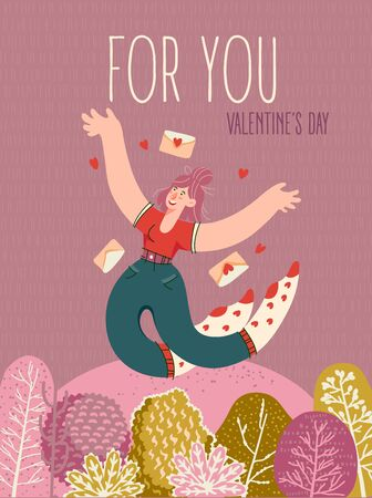 Valentine's day on greeting vector card with cute hugging young trendy people. Hand-drawn style with modern girl in love.