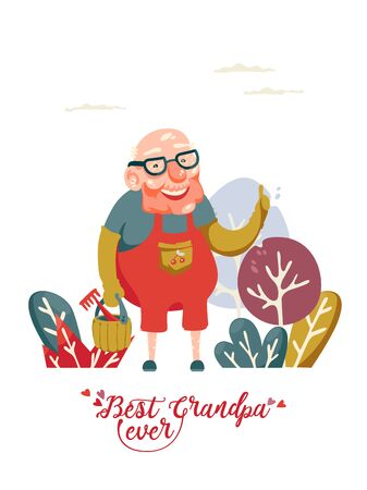 Cute grandfather on vector greeting card with label best grandpa ever 向量圖像