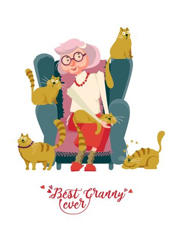 Cute grandma on vector greeting card with label best granny ever