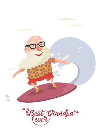 Cute grandfather on vector greeting card with label best grandpa ever Illustration