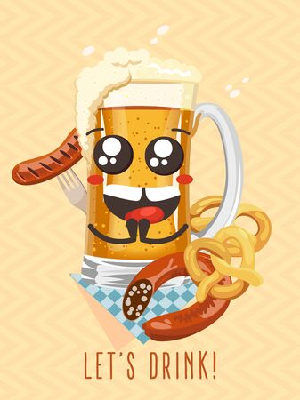 Cute beer mug character and label Let's drink
