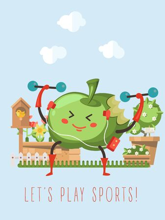Apple character doing sport with a good mood. Be healthy! 向量圖像