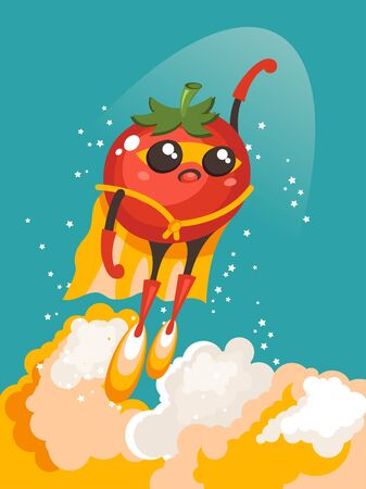 Tomato character as a Superhero flying in space