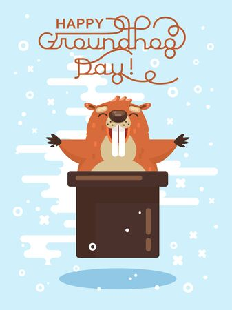 Happy Groundhog Day! Vector colorful illustration with cute marmot and its shadow Illustration