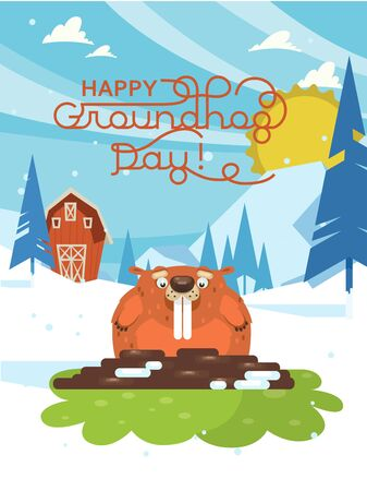 Happy Groundhog Day! Vector colorful illustration with cute marmot and its shadow 版權商用圖片 - 138726841
