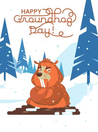 Happy Groundhog Day! Vector colorful illustration with cute marmot and its shadow 向量圖像