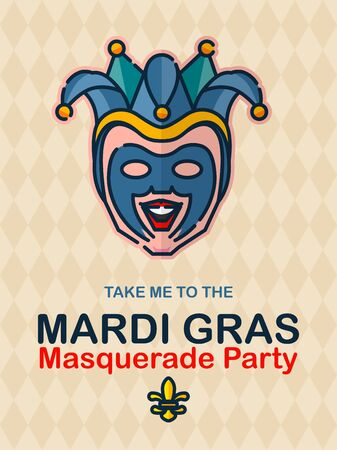 Vector colorful poster to traditional carnival Mardi Gras in New Orleans with mask, harlequin, fireworks, lights, and parade 向量圖像