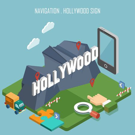 Colorful vector Hollywood sign in isometry. Navigation concept. Modern illustration. Touristic theme with attractions