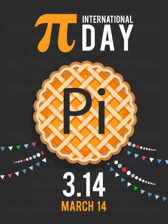 Happy World Pi Day! Celebrate Pi Day. March 14th (314). Mathematical constant. The ratio of a circle's circumference to its diameter. Constant number Pi. Greek letter. Ilustracja