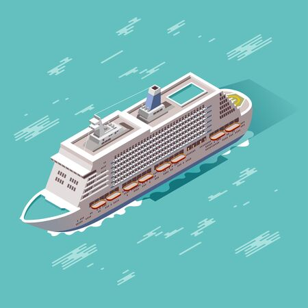 Colorful vector cruise ship in isometry. Modern illustration. 3d vehicle. Touristic theme