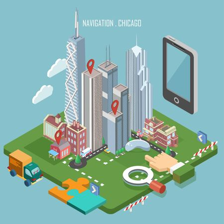 Colorful vector Chicago city in isometry. Navigation concept. Modern illustration. Touristic theme with attractions