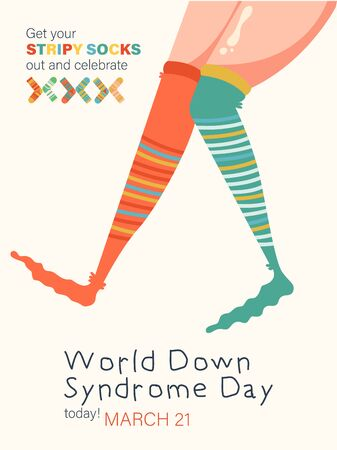 World Down syndrome day, March 21. Colorful vector concept with cute socks and label Get your stripy socks out and celebrate 向量圖像