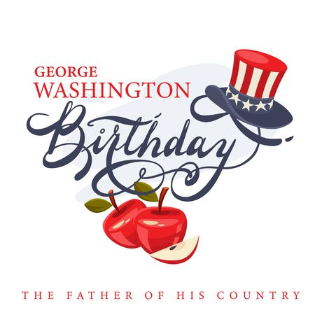 George Washington Birthday greeting card with lettering and American president's hat