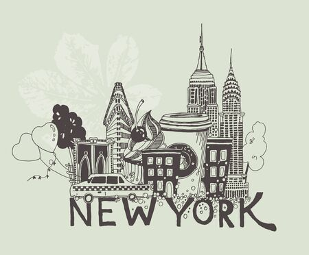 Vector illustration of New York attractions in black and white colors
