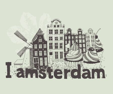 Vector illustration of Amsterdam attractions in black and white colors 向量圖像