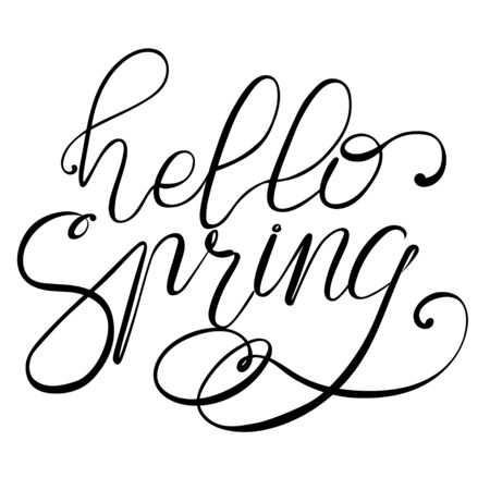 Spring vector lettering Hello Spring 向量圖像