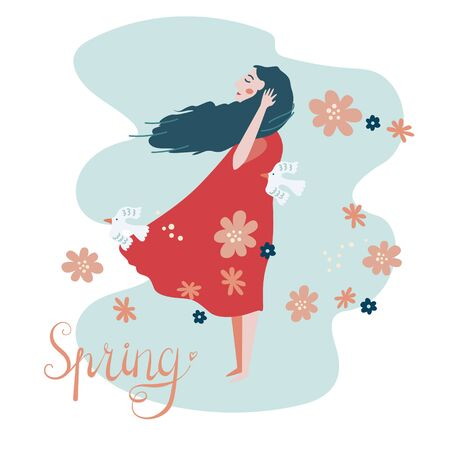 Modern vector illustration with the spring theme