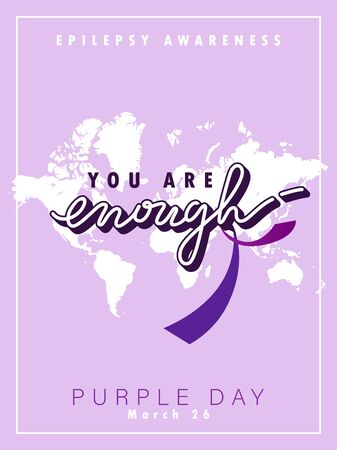 World epilepsy day. Purple day, March 26. Colorful purple concept