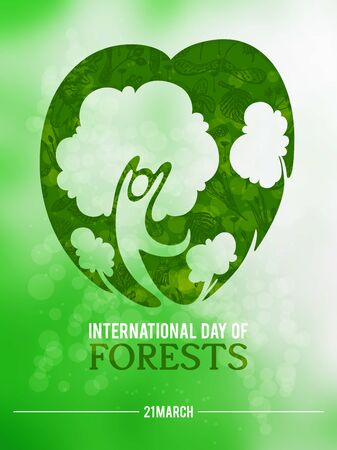 Poster to international forest day. Let's save the trees! Colorful vector illustration 版權商用圖片 - 142296864