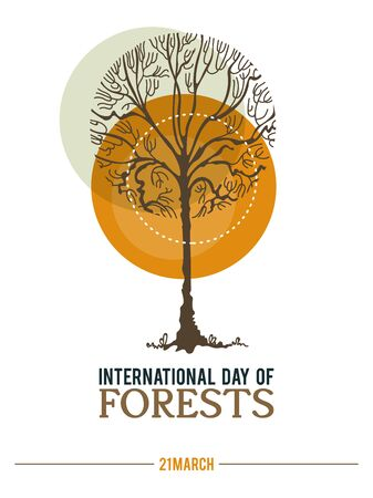 Poster to international forest day. Let's save the trees! Colorful vector illustration Фото со стока - 142296866