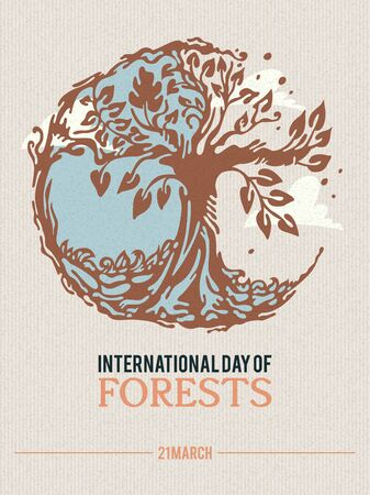 Poster to international forest day. Let's save the trees! Colorful vector illustration 版權商用圖片 - 142296867