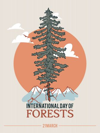 Poster to international forest day. Let's save the trees! Colorful vector illustration Фото со стока - 142296458