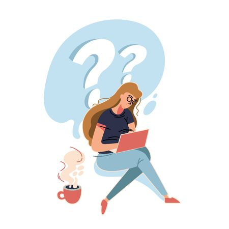 Woman is looking for an answer in the Internet. Business vector illustration with working person. Modern flat light style