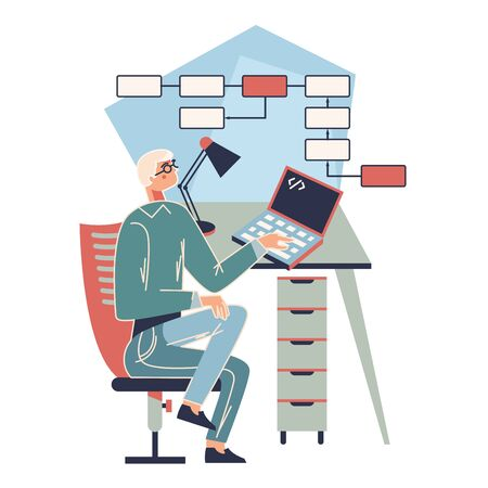 Technology and algorithm. Business vector illustration with working person. Modern flat light style