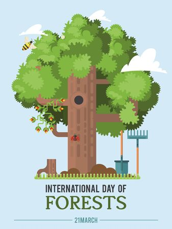 Poster to international forest day. Let's save the trees! Colorful vector illustration Фото со стока - 142297186